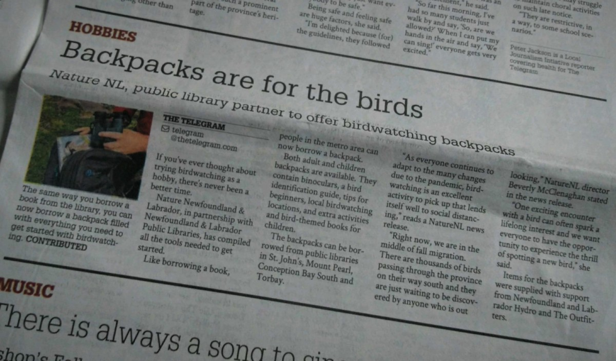 Birdwatching Backpacks in The Telegram